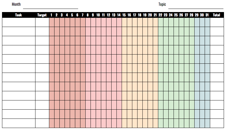 This is an image of Monthly Habit Tracker Printable inside a5 printable planner